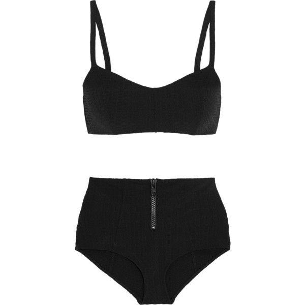 Lisa Marie Fernandez Genevieve seersucker bikini ($385) ❤ liked on Polyvore featuring swimwear, bikinis, bikini, swimsuit, swim, black, black bikini, high waisted bathing suits, black high waisted bathing suit and swimsuits bikinis