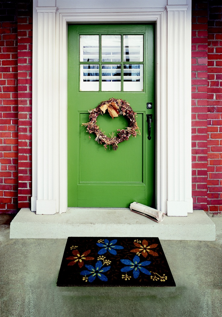 Exterior, Interesting Wreath On Green Front Door Facing Flowery Front Door  Mats And Concrete Flooring ~ Adding Beauty With Stylish Front Door Mats For  Great ...