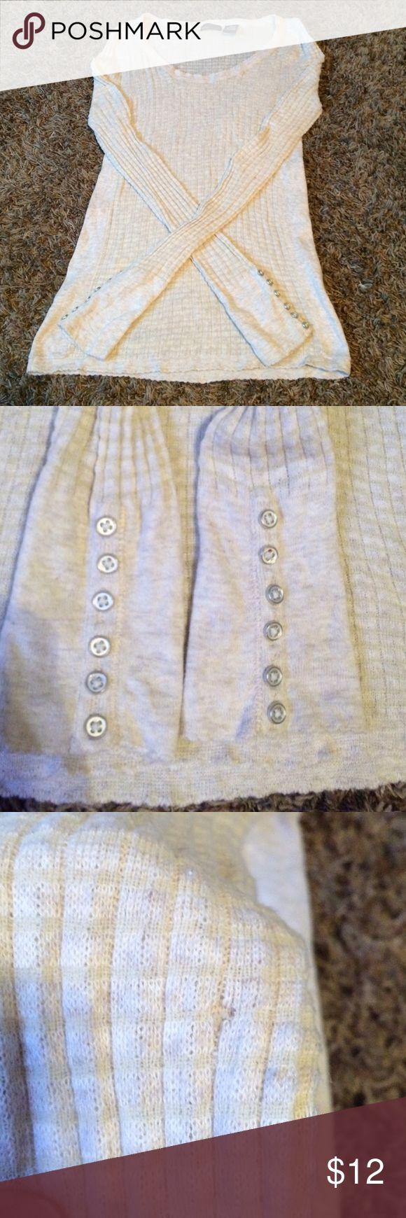 Cream long sleeve top for Victoria Secret Long sleeve top with buttons on sleeve! Small hole in sleeve as pictured! Moda International Tops Tees - Long Sleeve