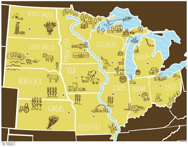 Midwest Brainstorm Cartography Pinterest Iowa Lake - Map of midwest usa