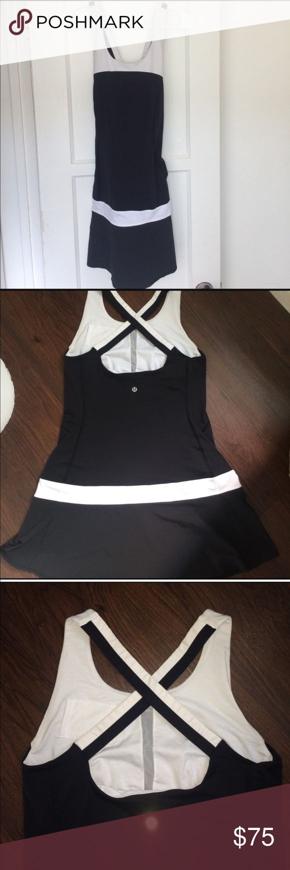 Lululemon dress Women's size 6. Like new! Black and white Lululemon tennis/workout dress. lululemon athletica Dresses
