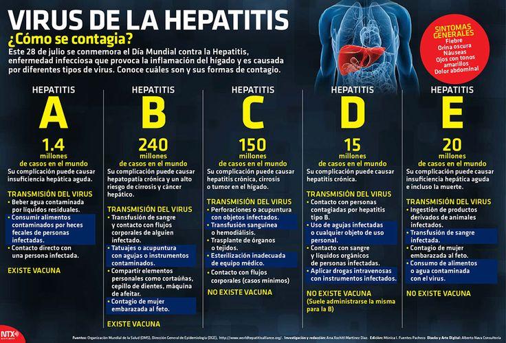 #DíaMundialHepatitis Conoce los diferentes tipos de hepatitis y cuáles son sus formas de contagio #Infographic