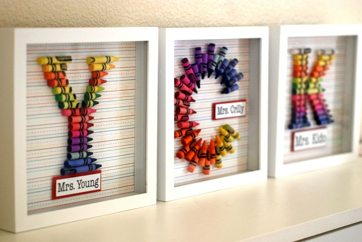 Customized Crayon Monogram Framed with your choice of letter and name.. $35.00, via Etsy.