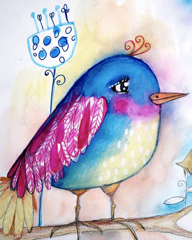 New birdie. Love her. ❤️ :) #whimsicalart #willowingarts #artjournal #mixedmedia #willowing #birdart