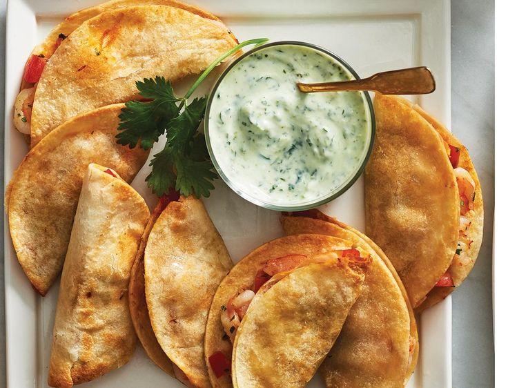 Creamy Jalapeno Cilantro Dip with Mini Shrimp tacos