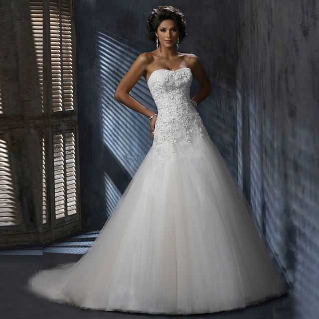 Nový prírastok 2016 Nášivky svadobné šaty bez ramienok Podlahové Dĺžka Tyl nášivky svadobné šaty Vestidos de Novia