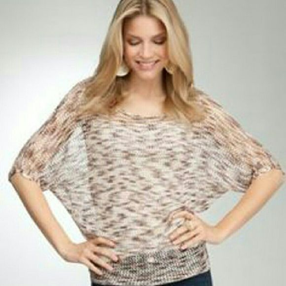 BeBe Crochet Batwing Top Tunic Natural M Worn 1x! its a Tie dye loose off shoulder crochet knit tunic, shiny material with warm colors woven in! lovely with a beige or black tank/cami under for a gorgeous look! bebe Tops Tunics