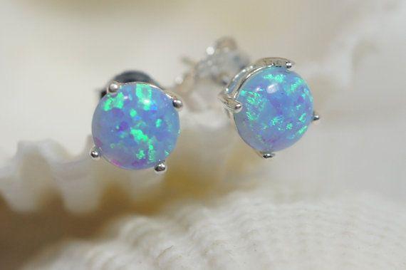Blue Opal Earrings Stud Opal Earrings Opal Jewelry by Trendydeals, $25.00