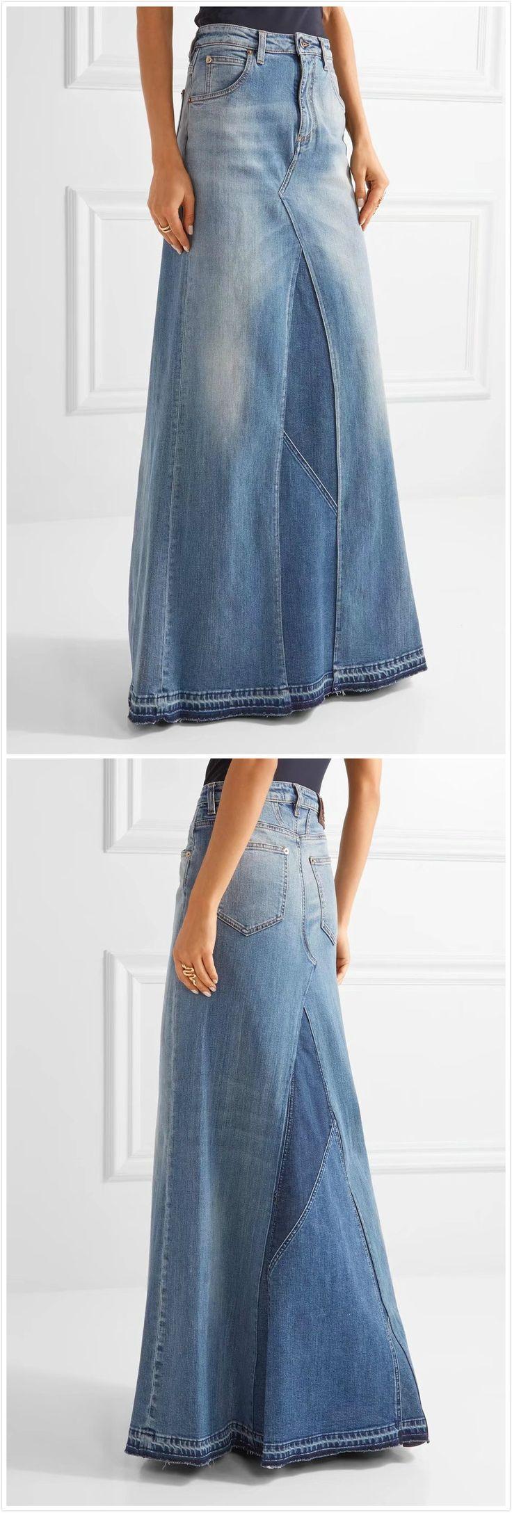 Fashion High Waist Maxi Denim Skirt