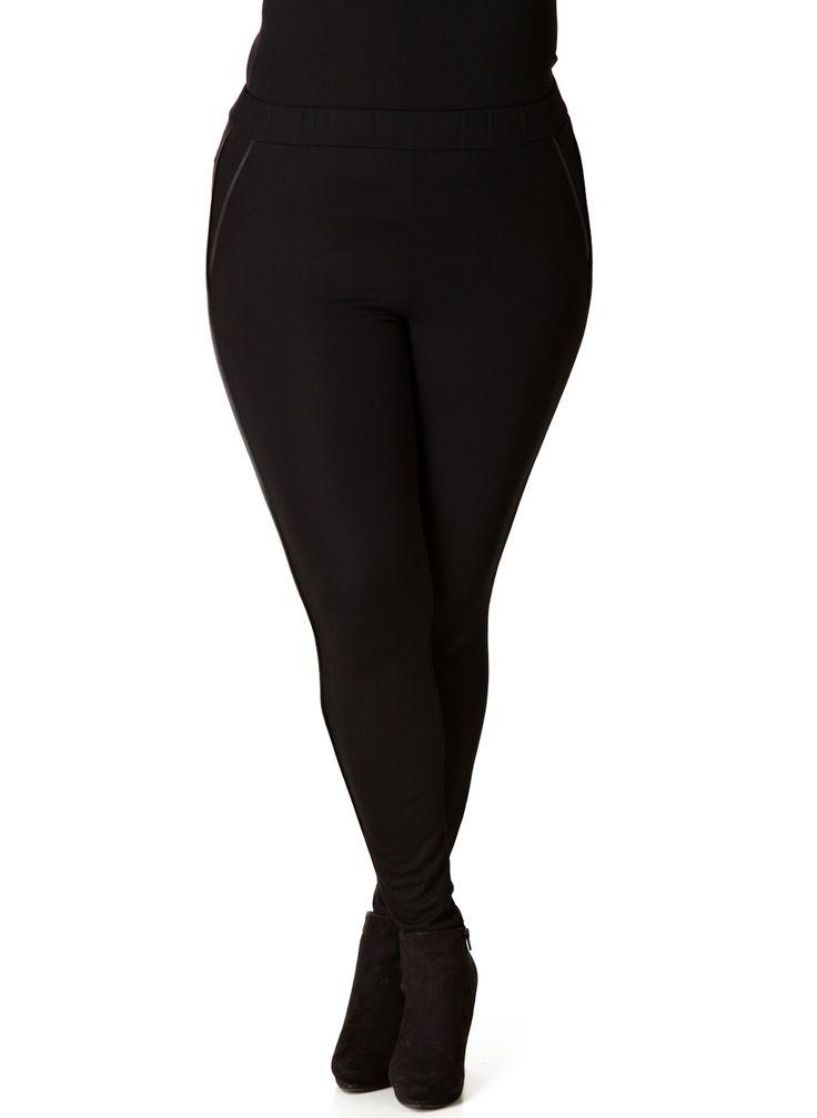 Seje Sorte Leggings med Skind Effekt Red Modetøj til Damer i dejlige materialer