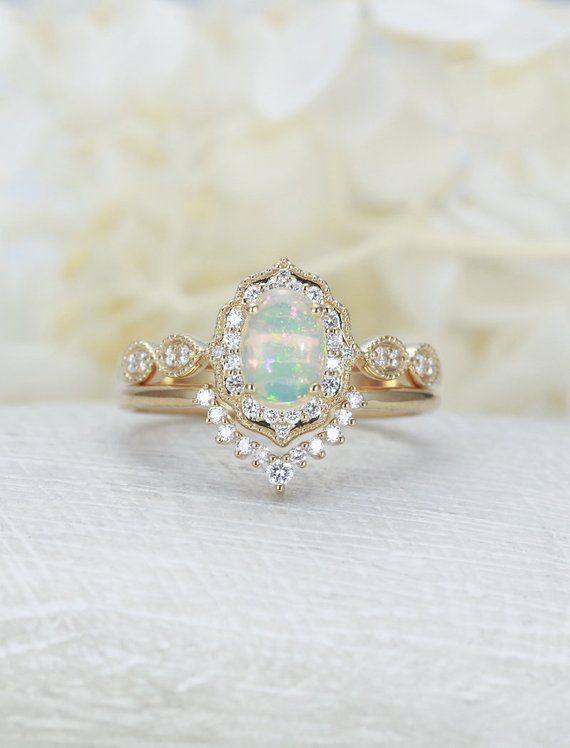 Opal Verlobungsring Frauen Gelbgold Diamant Vintage Verlobungsring Oval Schnitt Braut Set einzigartige gebogene Hochzeit Geburtstagsgeschenk für Sie   – nice