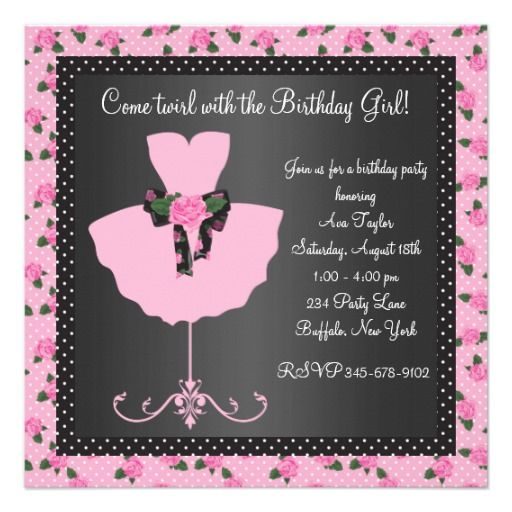 22 best 7th birthday party invitations images on pinterest pink rose ballerina girls ballerina birthday party personalized invitation stopboris Choice Image