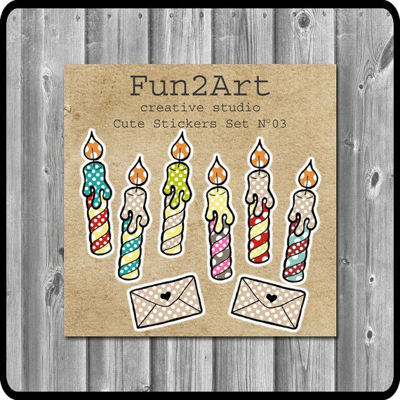 Cute Stickers/ Planner Stickers/ Birthday Stickers Set by Fun2Art