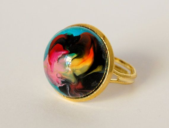 Artist's Palette  hand painted glass statement ring by JeweleaBlue