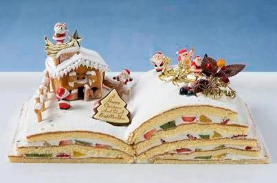 """A Happy Christmas And A Bright New Year"" -- Wish I could track down a real source for this ""gingerbread on a book"" and I wish the details were clearer, but I do love the book part for sure!"