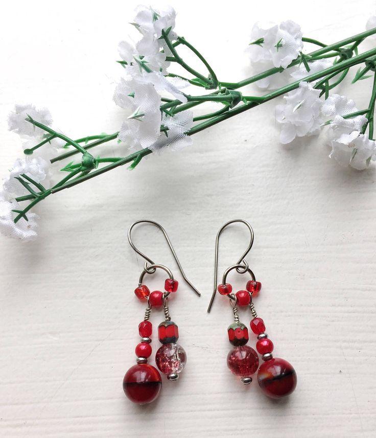 A personal favourite from my Etsy shop https://www.etsy.com/ie/listing/510033188/red-dangle-earrings-boho-style-earrings