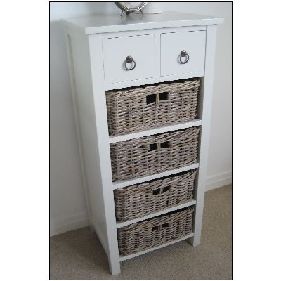 Tetbury Cottage Chest Of Drawers Wicker Baskets Tallboy
