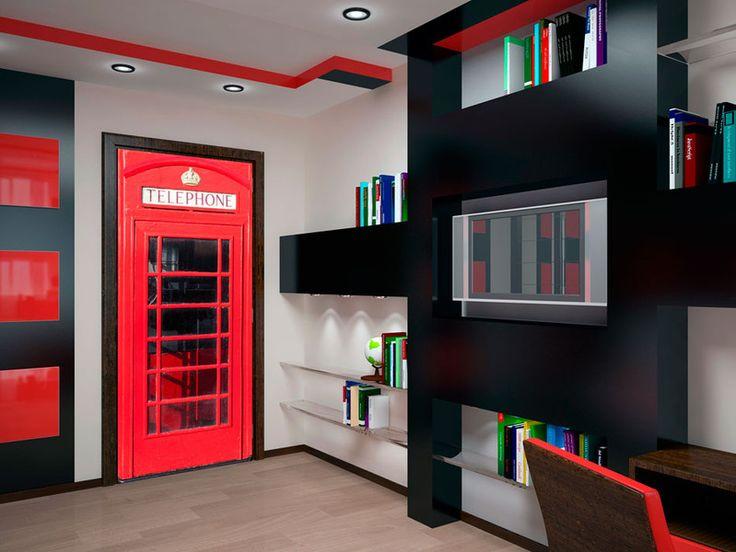 Tapeta na drzwi 100x210 czerwona budka 101005-1 - artgeist - Dekoracje #wallpaper #budka #red #england #phone #dekor
