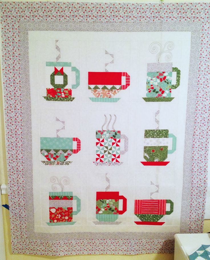 """In From The Cold"" quilt top at The Shy One Sews, with link to free ""Hot Cocoa"" pattern by Kate Spain for Moda (2013):"