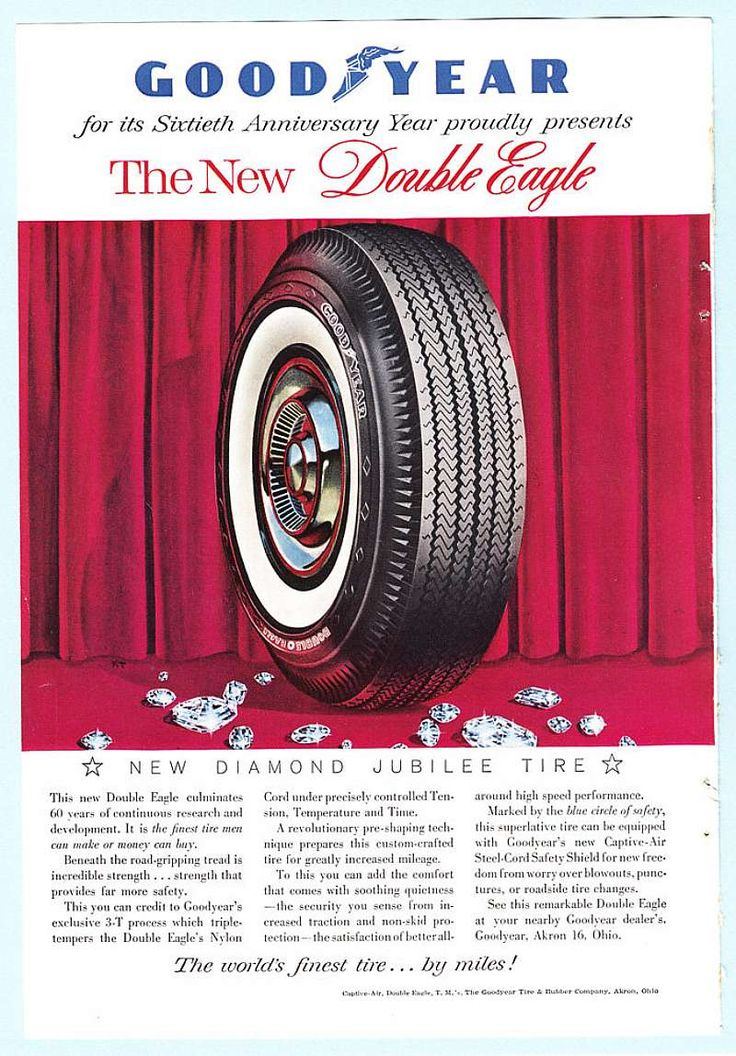 "For sale at Retrophoria.com, $9.99 - Check out this 1958 Goodyear ""Celebrating 60 years"" Double Eagle Tire Print Ad. It features a clear, sharp, color photograph of the white wall double eagle tire. The world's finest tire... by miles!This ad is strictly graded as: Very Good (A-)"