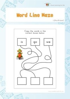 """In the """"Word Line Maze"""" worksheets, the student must follow the lines and copy the words to the correct boxes.  Available at www.visuallearningforlife.com on the Visual Perceptual Sight Words Builder 1 CD."""