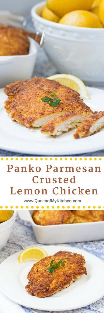 Hands down - the best lemon chicken ever!! Panko Parmesan Crusted Lemon Chicken is crispy, lemony, juicy and delicious. Use it to make chicken parmesan and chicken ceasar salad too. | QueenofMyKitchen.com