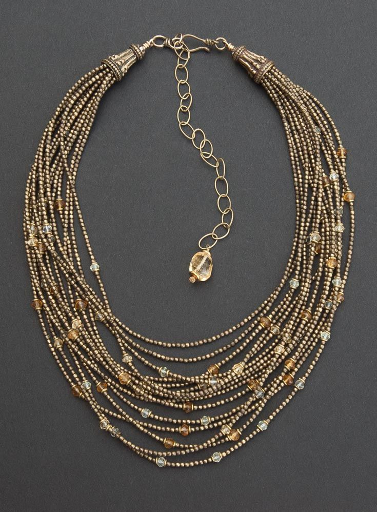 Angela Lovett Designs   Multi-strand necklace with citrine and lemon quartz gemstone beads with tribal brass beads from India.