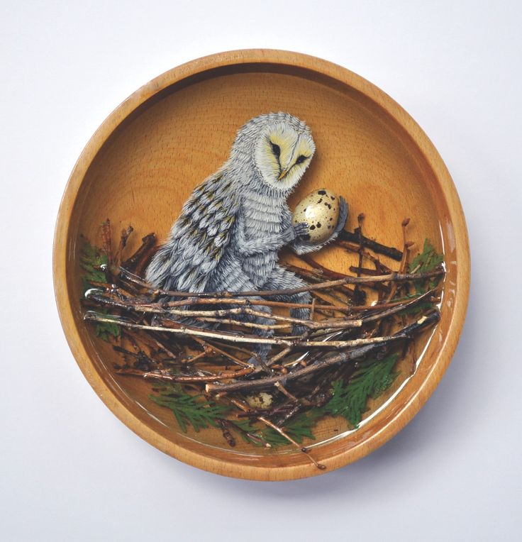 """Egg thief #3 (acrylic, resin, found bowl, quail eggs, sticks and branches, 12"""" diameter) by Drew Mosley at Ottawa Art Gallery."""