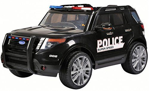 Kids-Police-Car-Range-Rover-Style-4x4-12v-Electric-Battery-Ride-on-Car-Jeep-Black-by-Epic