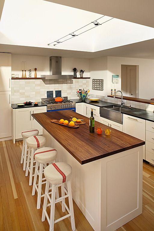 Concrete, Wood, Island, Farmhouse, Breakfast Bar, Contemporary, Skylight, Flat Panel, L-Shaped