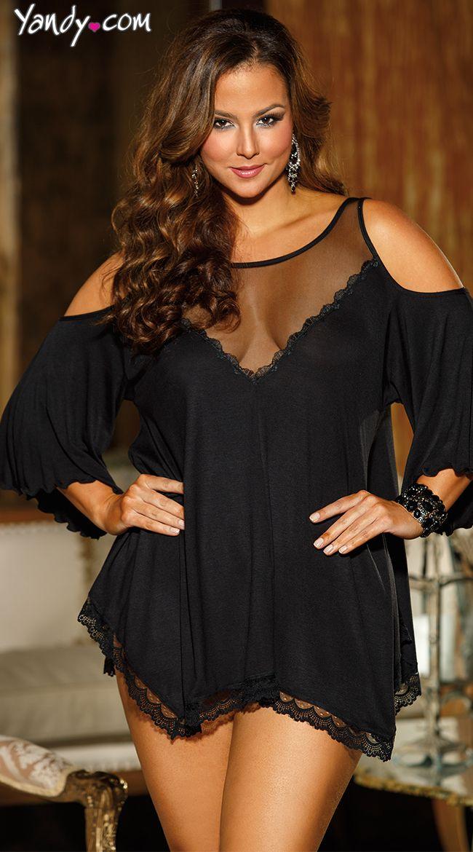 Plus Size Jersey Knit Chemise, $39.95 #besexy #yandydotcom #valentinesday