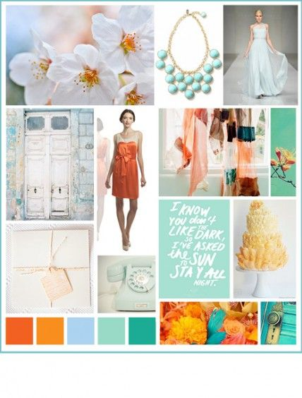 wedding inspiration tangerine and teal the brides