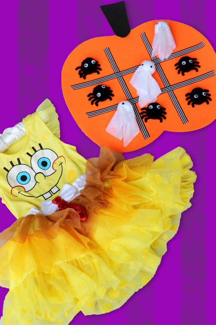 this easy diy halloween tic tac toe board has the cutest spiders and ghosts put on your favorite spongebob tutu and use these supplies - Spongebob Halloween Game