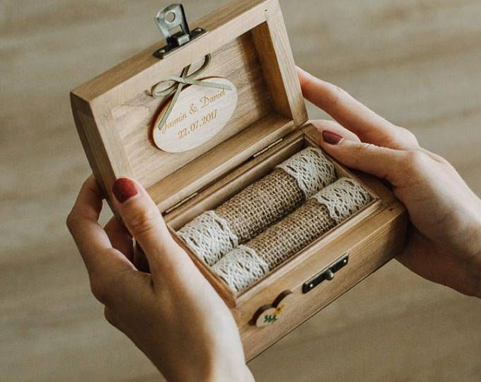 Personalized wedding ring box. Rustic wooden ring box | Etsy
