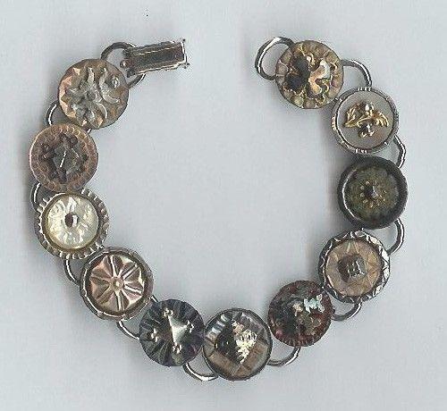 1800's mother of pearl waistcoat button bracelet