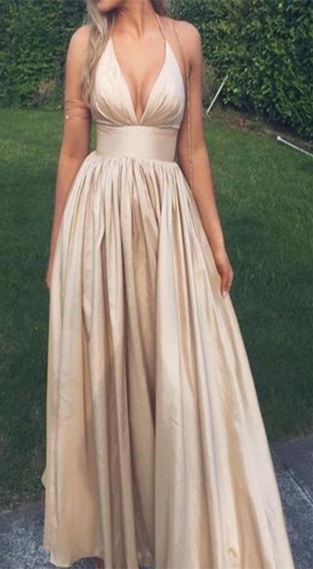 simple prom dress, v-neck prom dress, champagne prom dress, backless prom dress, halter prom dress, deep v neck dress, spaghetti straps dress, sleeveless dress