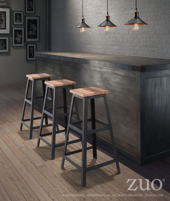 Zuo Cora Barstool Distressed Natural – Modish Store