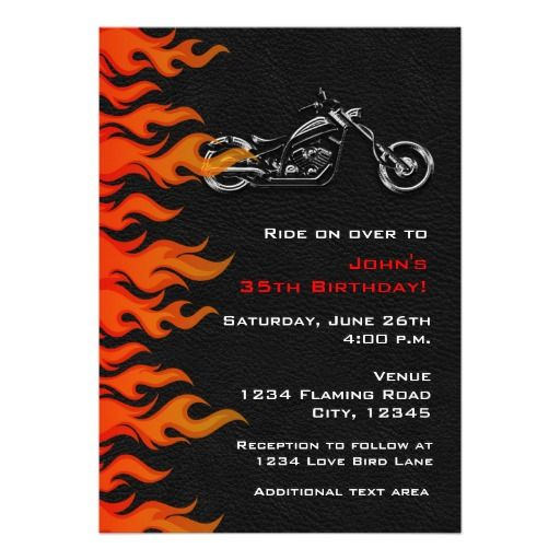 Biker Motorcycle Leather Flames Party Invitation