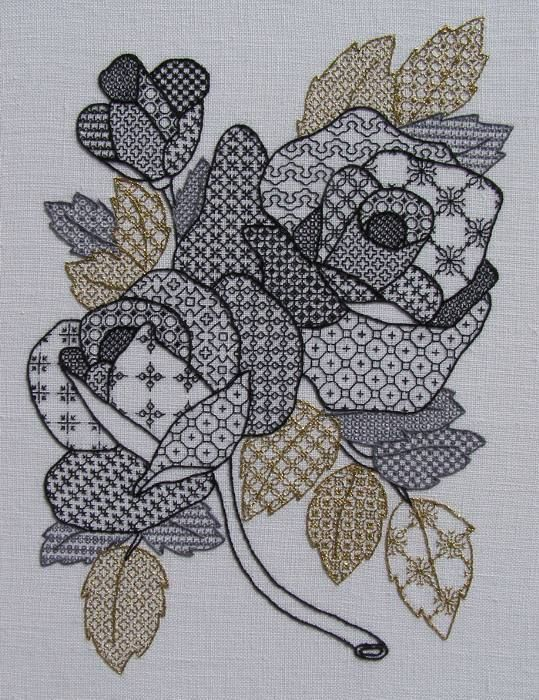 Roses in black work