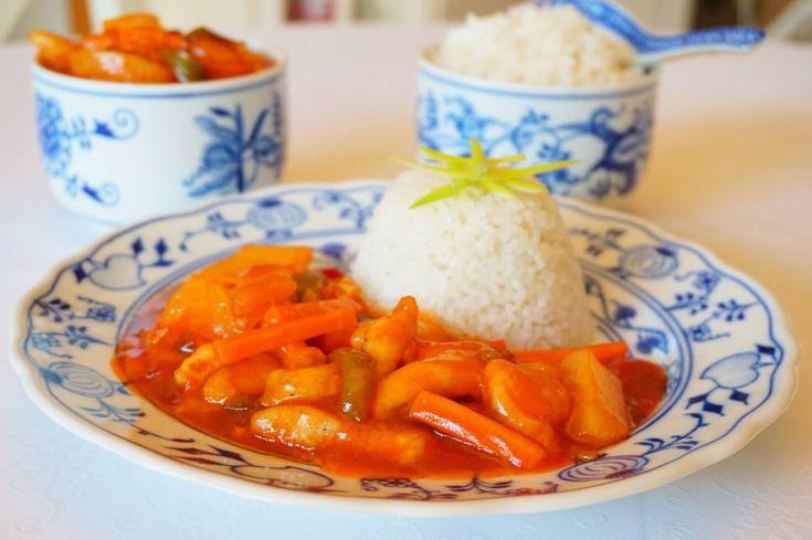 Kuřecí prsíčka ve sladko-kyselé omáčce s rýží