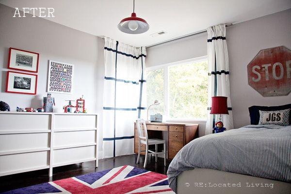 Red, white and blue big boy room - we love that Union Jack rug! #kidsroom
