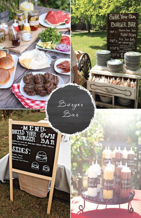 8 food stations your guests are sure to love! Burger bar at a wedding? What a great idea!
