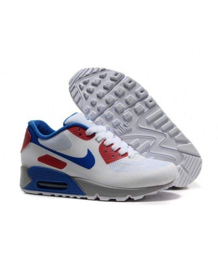 0e199825bb2 Mens Nike Air Max 90 Hyperfuse Prm White Blue Red 6809331-247