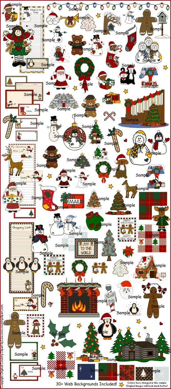 Christmas Winter Graphics and Clip Art Collection from Original Country Clipart by Lisa
