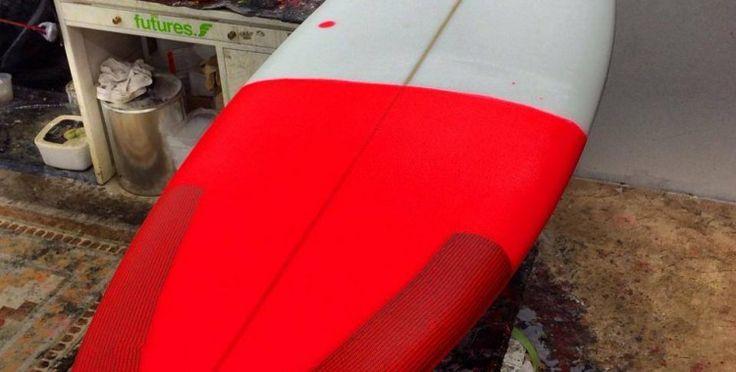 Fluro tail resin tint on custom EPS Vanda Surfboard