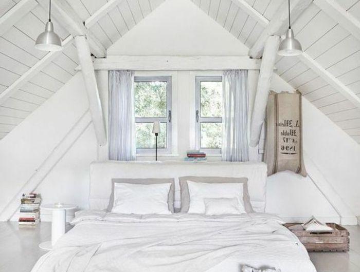 do chambre tout en blanc chambre mansarde lit blanc linge de lit blanc - Comment Peindre Une Chambre Mansardee