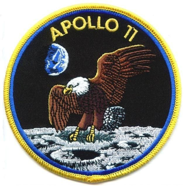 "space mission patches | NASA Apollo 11 Embroidered 4"" Mission Patch - Yellow Border"