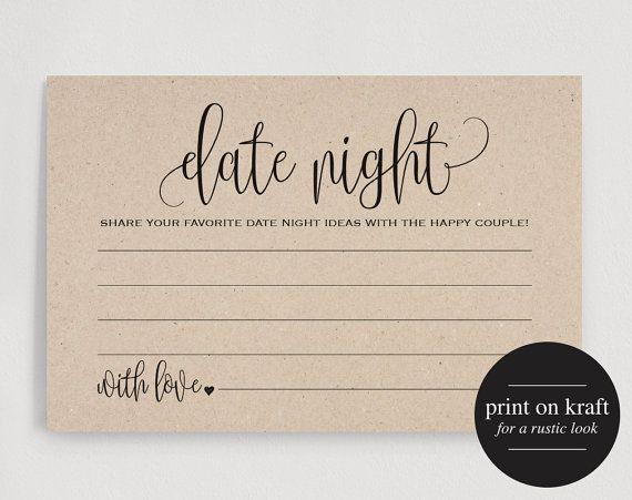 Date Night Cards, Date Night Ideas, Date Jar, Wedding Advice Card, Marriage Advice, Wedding Advice Template, PDF Instant Download #BPB203_16