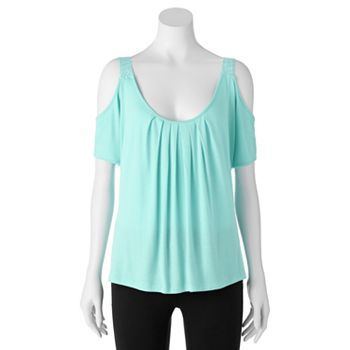 Candie's® Cold-Shoulder Lace Top - Juniors