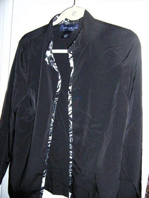 8.60$  Watch now - http://vimqs.justgood.pw/vig/item.php?t=k6ltjd59195 - QVC Susan Graver Black Peachskin Jacket w/Print Trim Size S 8.60$